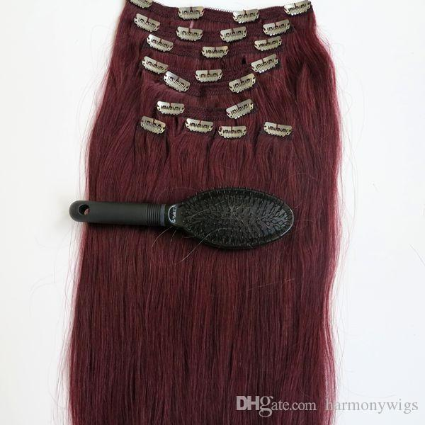 160g 20 22inch 100% Human Hair Clip in Hair Extensions Smooth Brazilian Hair 99J#/Red Wine Remy Straight Hair 10pcs/set free comb