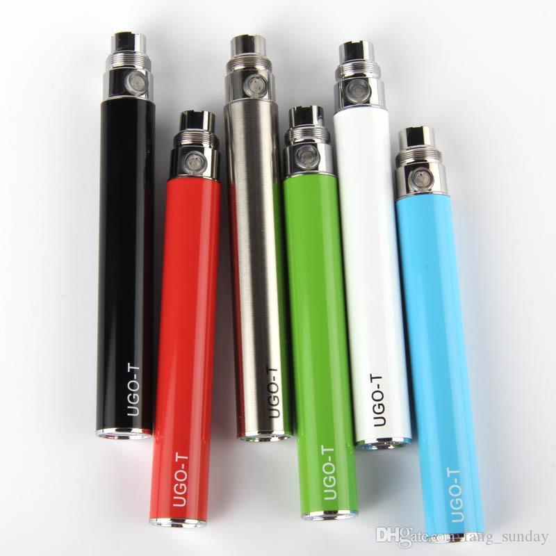 Sigaretta elettronica eGo sigaretta elettronica all'ingrosso UGO T Vaporizzatore-Vape-Pen 650/900 / 1100mAh USB Passare attraverso E-Sigarette Batteria carica inferiore