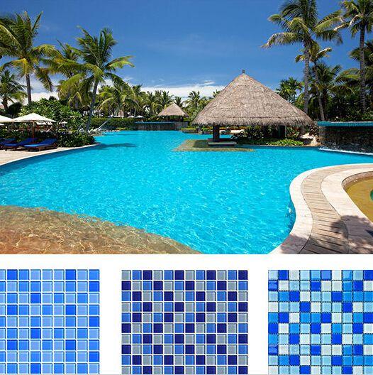 Telhas de mosaico de vidro da cor azul para o quadrado da tira do círculo das telhas de revestimento do azul de céu da piscina