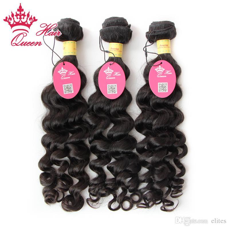 Queen Hair 3pcs lots Más cabello ondulado de la Virgen Peruana sin procesar, exfoliante y enredo gratis, envío gratuito por DHL