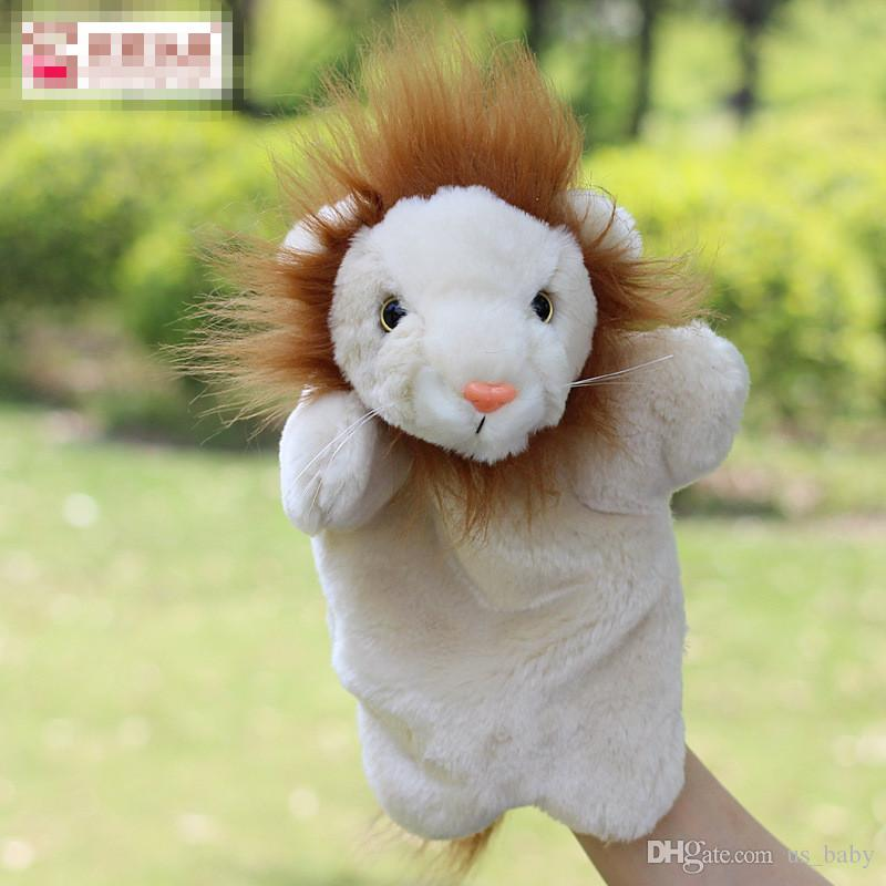 Children funny cute lcartoon ion plush tell stories hand Puppets toys baby lion hand Puppets play games dolls hot sale 10pcs
