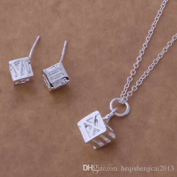 Moda charme pingente de algarismos romanos quadrados 925 colar de prata Brinco conjuntos de jóias 10 set / lote