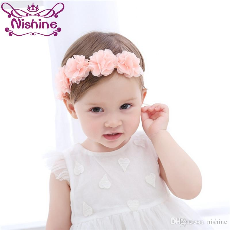 10PC New Fashion Girls Lace Big Bow Hair Band Baby Head Wrap Band Accessories
