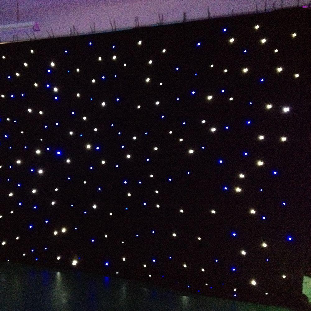 ستارة إضاءة LED ستار ستارة 15x15 قدم ستار ستائر ستائر بلون أزرق-أبيض مع وحدة تحكم في الإضاءة LED ستارة الرؤية