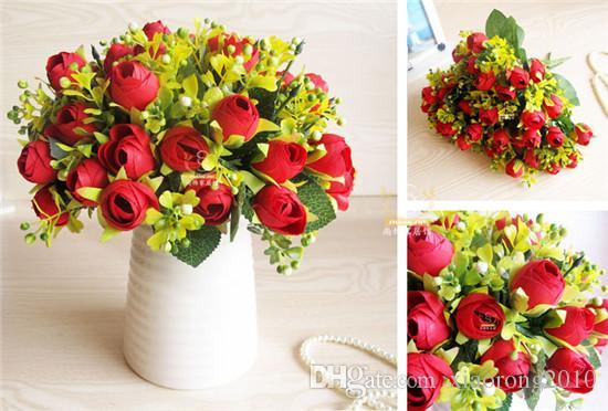 "10st 32cm / 12.6 ""Längd Konstgjord Silkblommor Simulering Snö Tea Rose Fourteen Flower Heads Per Bush Home Dekoration"