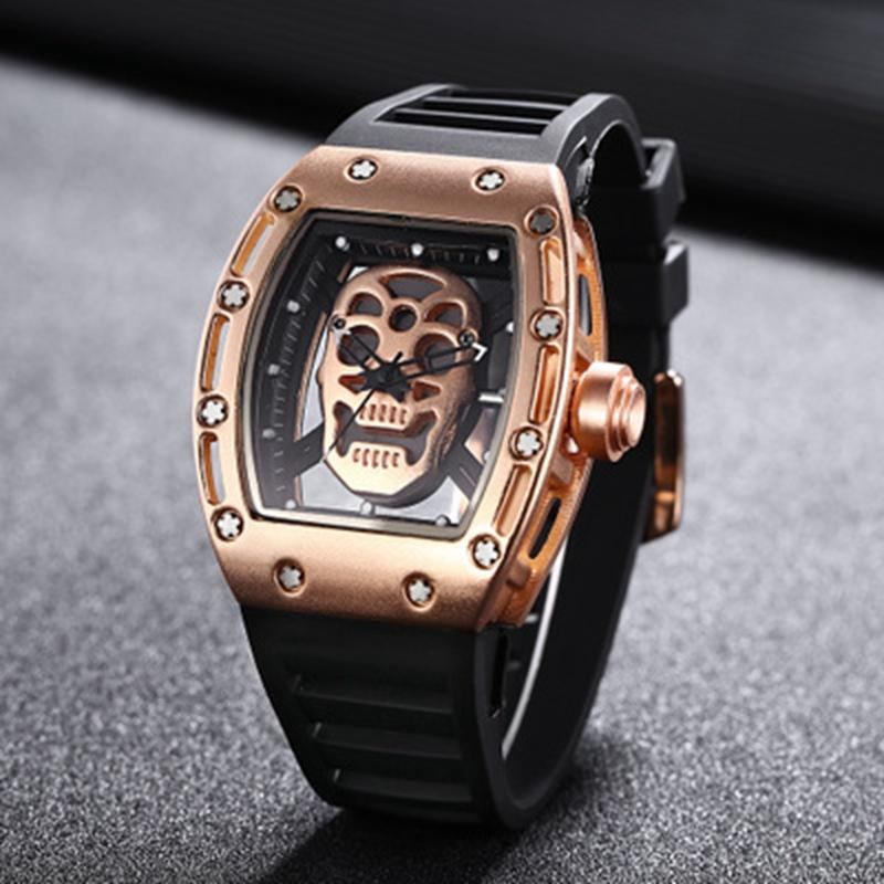 New 2019 Fashion Casual Business Men Quartz Watch Luxury Stainless Steel Skeleton Watch Silicone Strap Waterproof Sports Watch