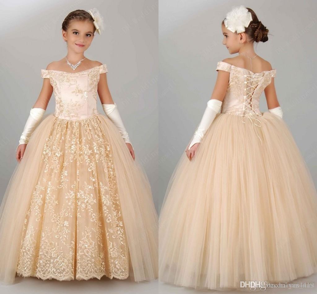 새 PrincessFlower 여자 드레스 생일 레이스 숄더 레이스 샴페인 공주 파티 어린이 결혼식