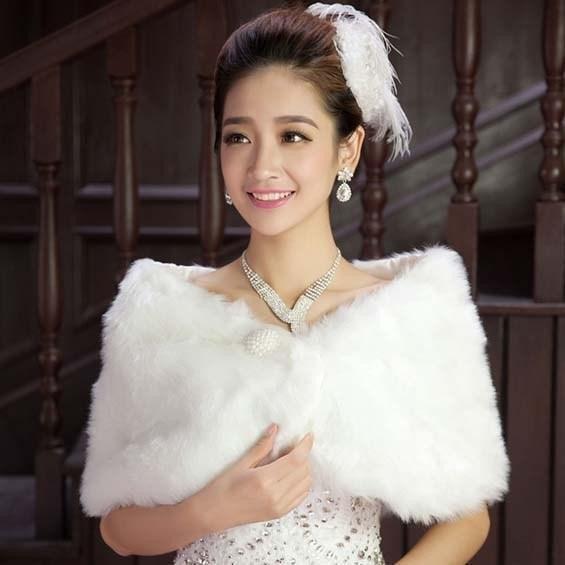 Em estoque peles nupcial wrap capa roubou xale bolero casaco casaco perfeito para inverno casamento noiva de dama de honra imagem real