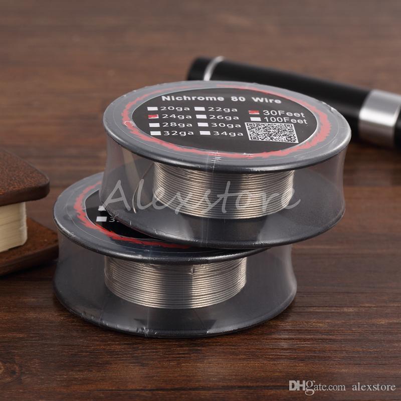 100pcs 니크롬 80 와이어 가열 저항 코일 30 피트 스풀 AWG 24g 26g 28g 30g 32g 재건 가능한 RDA RBA 분무기 DHL 용 게이지