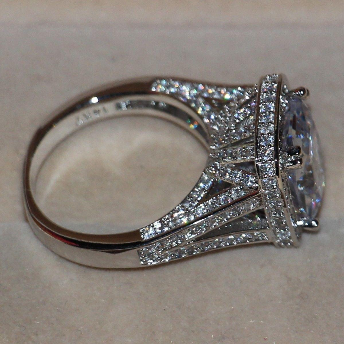 Tamaño 5-11 Joyería de Lujo 8CT Big Stone zafiro blanco 14kt oro blanco lleno GF Simulated Diamond Wedding Band Anillo de compromiso amantes regalo