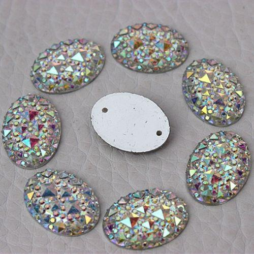 200PCS 13*18mm AB Color Crystal Acrylic Oval Rhinestone Flatback 2 Hole ZZ69