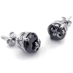 Mens Womens CZ Paslanmaz Çelik Siyah Vintage Gotik Fleur De Lis Saplama Küpe, Paslanmaz Çelik Takı Tedarikçisi