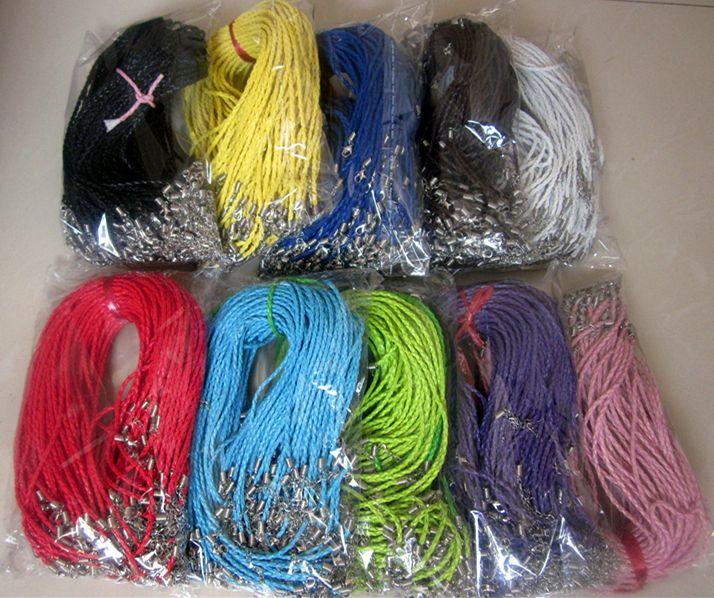 100pcs PU collier de cordon tressé en cuir avec pinces de homard accessoires pour fabrication de bijoux fournitures composants de bijoux