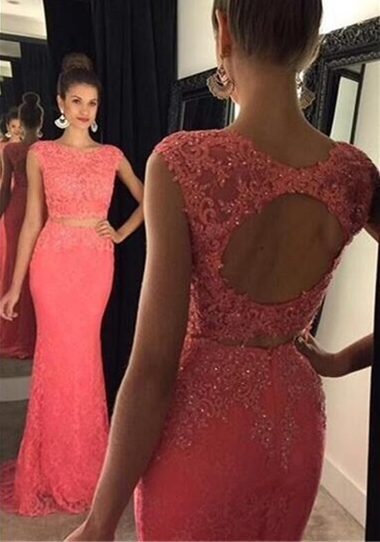 Two Pieces Prom Dresses Orange Lace Mermaid Formal Evening Dress Party Gowns With Crew Neck Key Hole Backless Floor Length Prom Dress Plus Size Prom