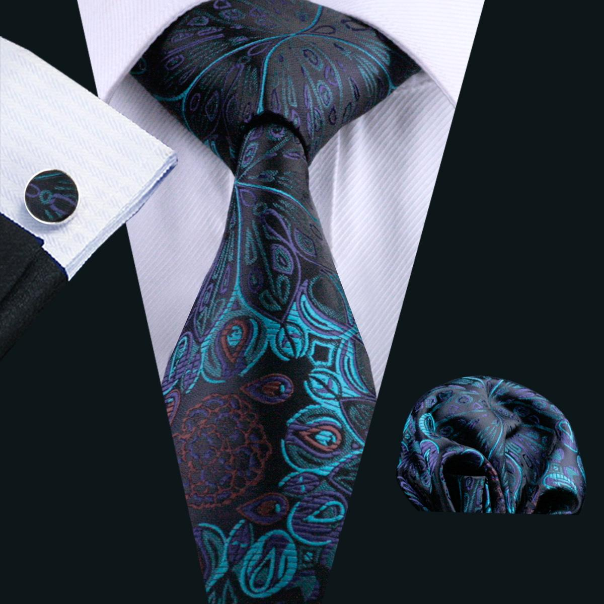 Green Paisely Mens Silk Tie Hankerchief Cufflinks Set Business Formal Work Party Tie Jacquard Woven N-0612