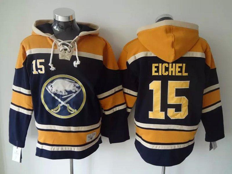 최고 품질 ! 버팔로 세이버스 올드 타임 하키 유니폼 15 Jack Eichel 블루 까마귀 풀오버 스포츠 스웨터 겨울 자켓