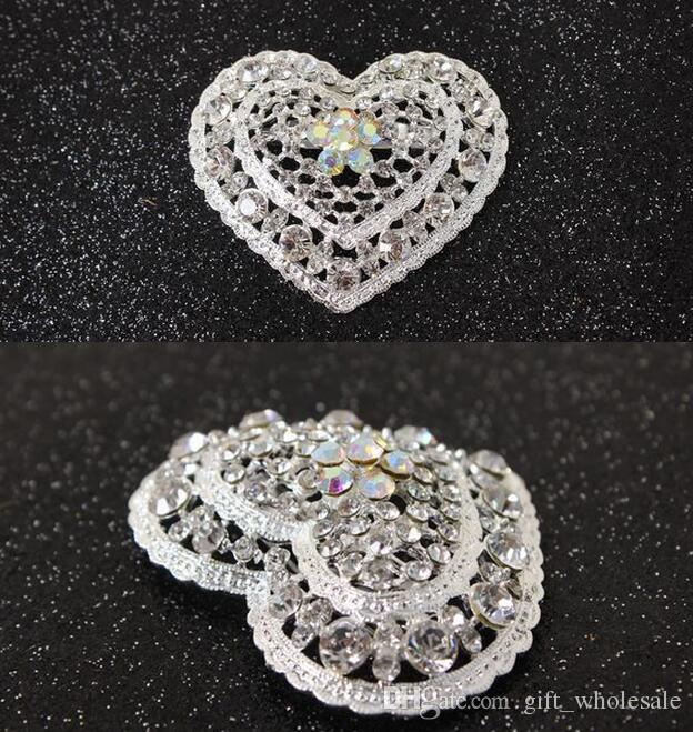 2016 New Hot Style Silver Color Clear Rhinestones Crystal Hollow Cut Out Small Heart Pin Brooch 12pcs/lot Wholesale