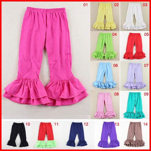 14 color Rojo verde Color sólido Ruffle pants para Baby toddler Girl Double Ruffles Flare Pants Fancy Flare Pants