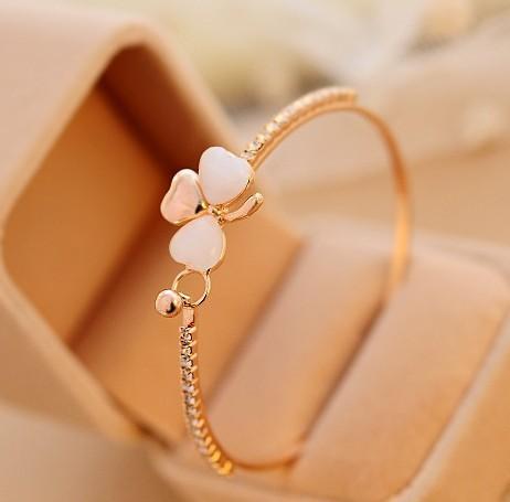 wish_team Venta caliente 18K chapado en oro Crystal Lady Bangle Pretty Bow Bracelet Jewelry Bracelets Brazaletes para mujeres Regalo W709