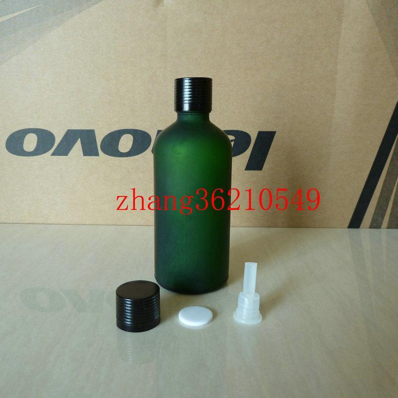 100ml 녹색 서리로 덥은 유리 에센셜 오일 병 반짝이는 검은 색 알루미늄 캡. 오일 바이알, 에센셜 오일 용기