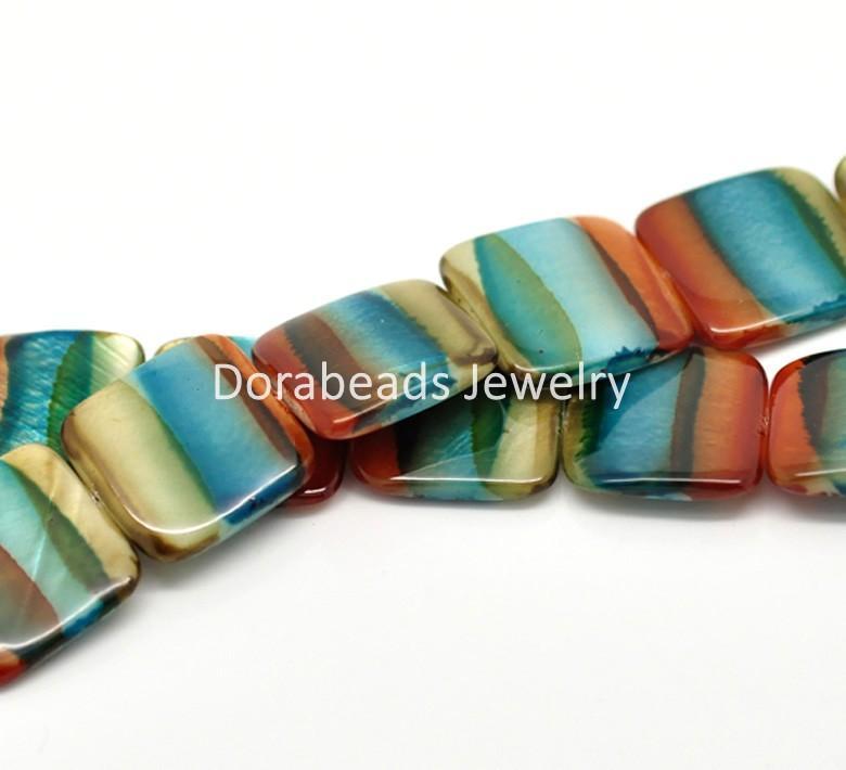 Бесплатная Доставка! 1 прядь многоцветный площадь конфеты-полосатый оболочки бусины 20мм x 20мм B17867 (B17867)