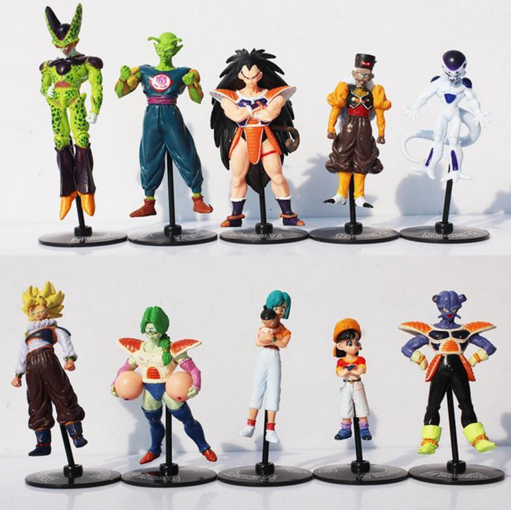 10pcs/set Dragon Ball Z Goku Gohan Roshi Piccolo Freeza PVC Action Figure Model Toys