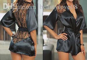 الجملة-تفاصيل حول جديد جنسي الملابس الداخلية الساتان الدانتيل الأسود كيمونو الحميمة النوم رداء ثوب الليل