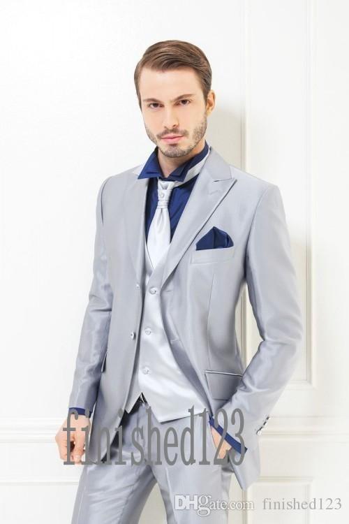 New Arrival Two Buttons Silver Groom Tuxedos Peak Lapel Groomsmen Best Man Wedding Prom Dinner Suits (Jacket+Pants+Vest+Tie) G5021