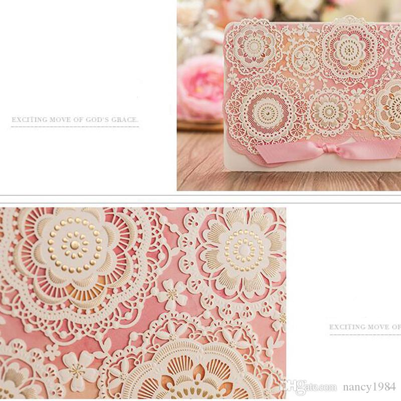 Free Shipping Wedding Invitations Pink Color Flower Laser Cut Wedding Invitation Card Casamento Event & Party Supplies CW5126