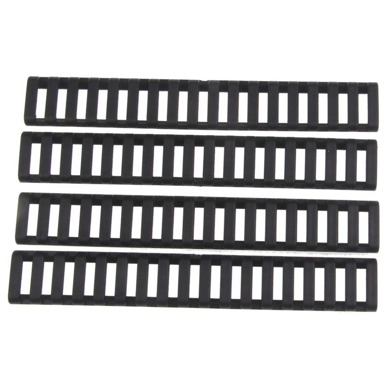 Funpowerland High quality Ladder 18 Slots Low Profile Rail Covers 4pcs pack Black For Handguard AR15 M4(DS9525A) Free Shipping