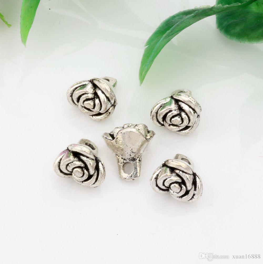 Heet ! 200 stks Antiqued Silver Legering Rose Flower Charms Hangers 7x8x9mm DIY Sieraden