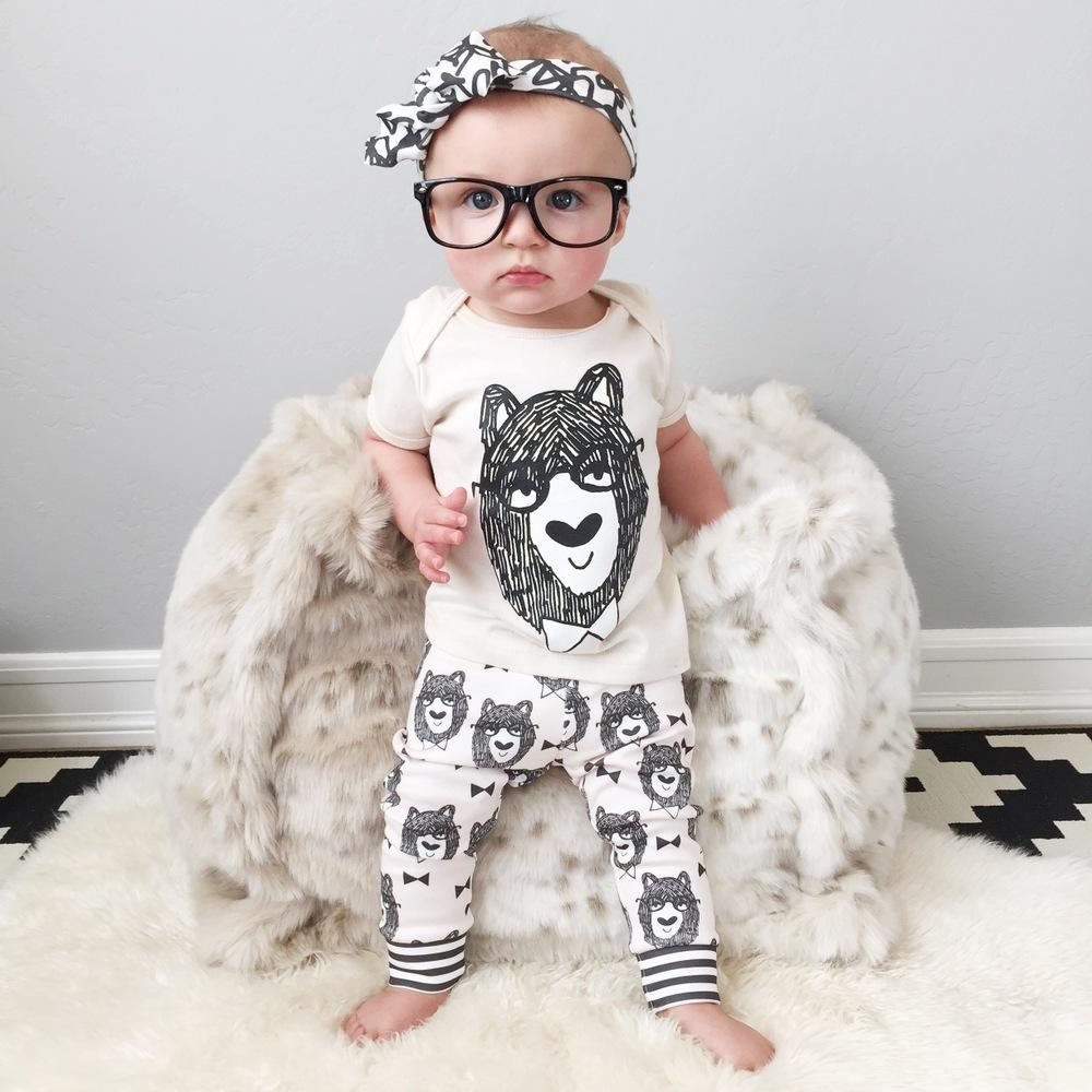 NWT 2015 Cute Cartoon Bowtie Bear Baby Girls Boys Outfits Set Summer Sets Boy Cotton Tops + Harem Pants 2pcs Suits Kid A3411