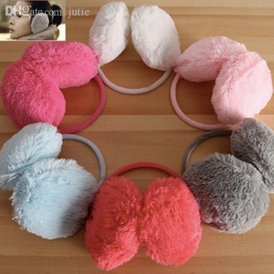 Wholesale-Fashion Elegant Women Ladies Colorful Plush Fluffy Warm Earmuffs Earlap Ear Winter mix color free shipping