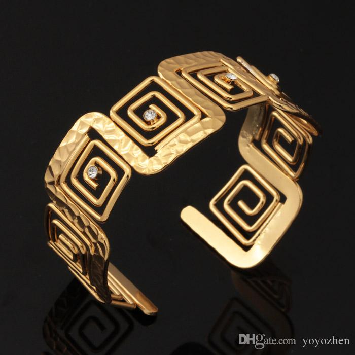 خمر G صفعة سوار حجر الراين 18K مطلية بالذهب قابل للتعديل مجوهرات سوار الإسورة للنساء بالجملة YH5196