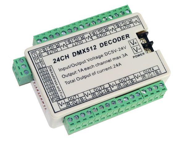 24 CH Facile dmx512 dimmer Controller, 24 CH DMX 512 decodificatore, LED 24 canali 8group controllore uscita RGB, DMX512 azionamento DC5-24V