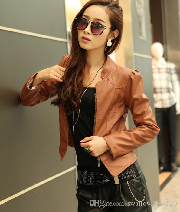 2016 New Hot Chic Korea Black/Camel color Women Faux Leather Short Motorcycle Jackets with zipper 2 colors