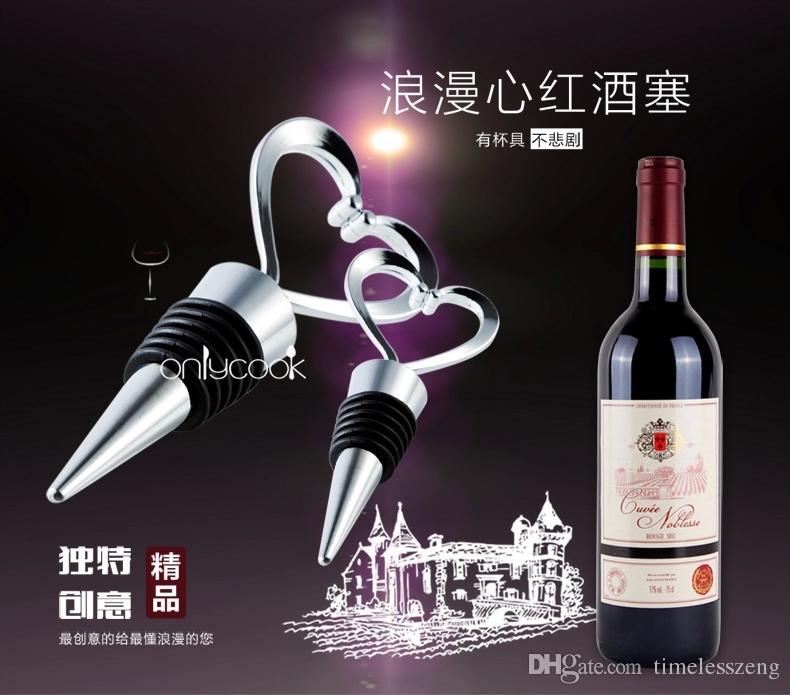 100pcs / lot 새로운 절묘한 심장 모양의 와인 스토퍼 고품질의 아연 합금 + 실리콘 바 와인 도구