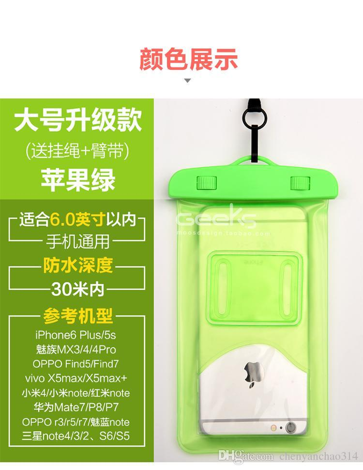 Waterproof Phone Bag PVC Underwater Phone Bag Pouch Dry For Iphone 4 5S 6 6 plus Samsung S6 S5 Note HTC Waterproof Bag flyglobal
