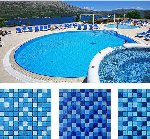 2019 Blue Color Glass Mosaic Tiles For Swimming Pool Sky Blue Flooring  Tiles Circle Strip Square From Qinyuanstone, $12.67 | DHgate.Com