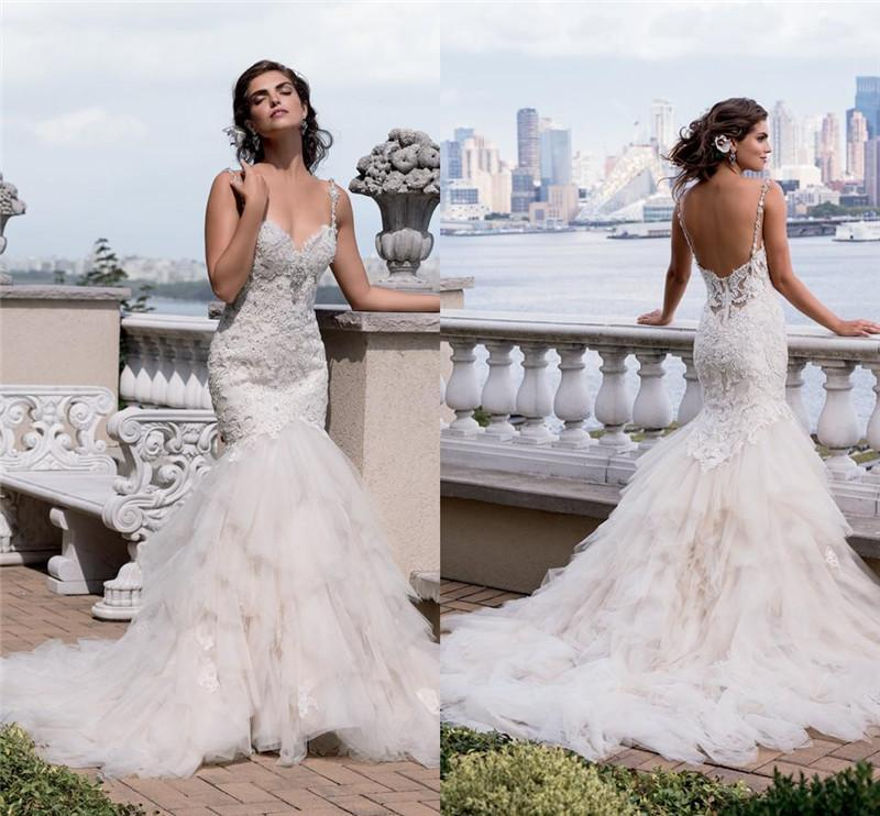 2017 Gorgeous Eve of Milady Lace Mermaid Wedding Dresses Sexy Backless Missses Crystal Beaded Sweetheart Tiered Skirts Bridal Gowns