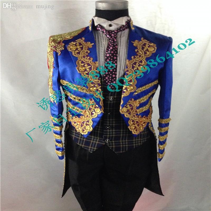 Commercio all'ingrosso-2015 Vendite calde che agiscono lunghe (Solo giacca) Personalizza cerimonia Royalblue Men Suit Set Host Ricamo Abiti da sposa Groom