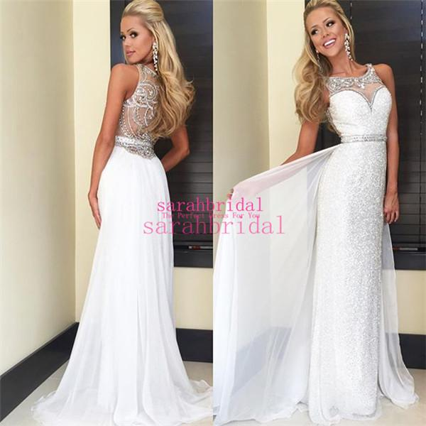 2019 White Chiffon And Sequin Long Prom Dresses