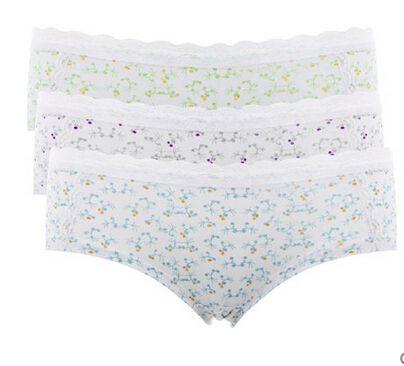 w1025 verano estilo algodón de las mujeres boyshorts mediados de la cintura bragas lindo Undie ropa interior Calcinha Hipster (paquete de 3)