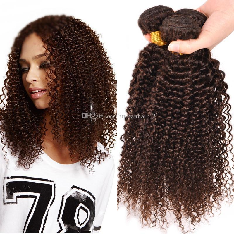 Brazilian Human Hair Brown Kinky Curly Extensions Weaves 3Pcs Unprocessed afro curly #4 Middle Brown Human Hair Bundles Real Pics