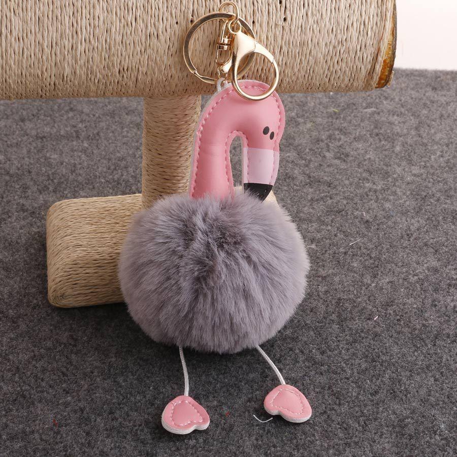 Flamingo hair ball Keychain Christmas cartoon animal hair ball pendant car mobile phone strap bag