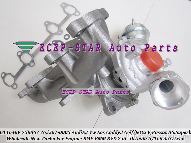GT1646V 756867 765261 756867-0003 765261-0005 Turbo Turbocharger For AUDI A3 VW Golf Jetta Passat B6 Superb 2 Toledo 3 Leon BMP BMM BVD 2.0L
