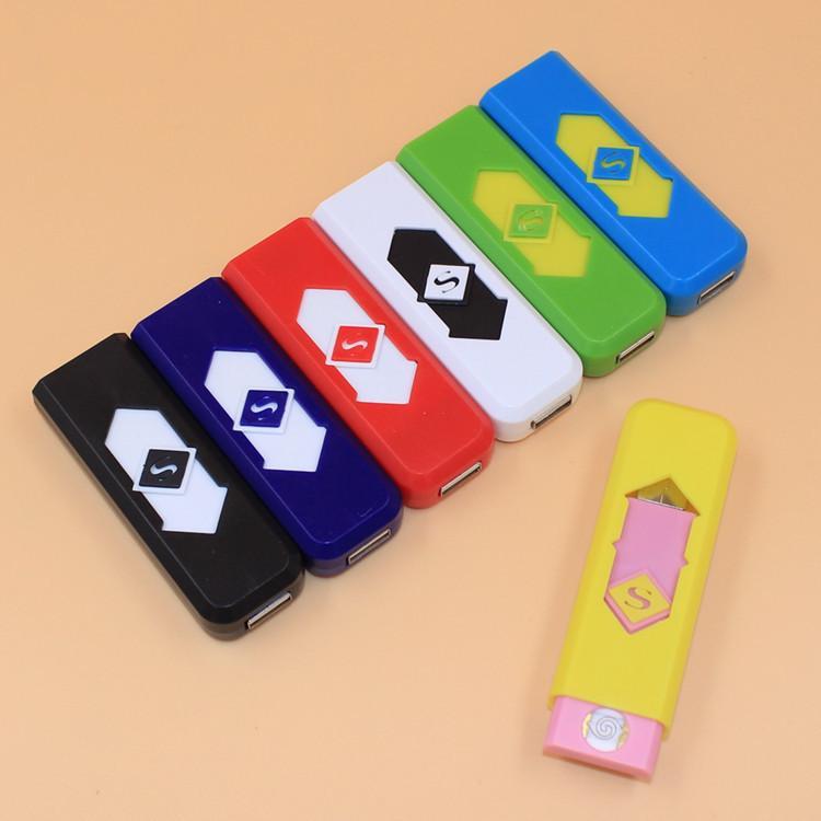 Briquets de cigarettes USB rechargeable batterie cigarettes électroniques briquet coupe-vent inflamelais sans carburant de gaz ABS flamme raleur plastique DHL