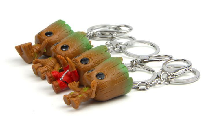 Guardianes de los Galaxy 2 Figuras bebé Groot PVC con llavero de los colgantes de colección Juegos de construcción