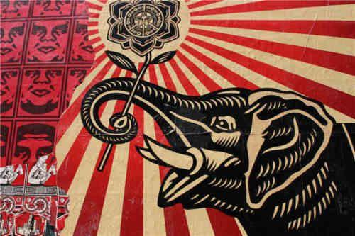 Emoldurado Shepard Fairey Obed Pintados À Mão Pintura A óleo Abstrata Da Arte Da Flor Do Elefante, na Lona de Alta Qualidade para a Parede Home Art Decor Multi Tamanhos