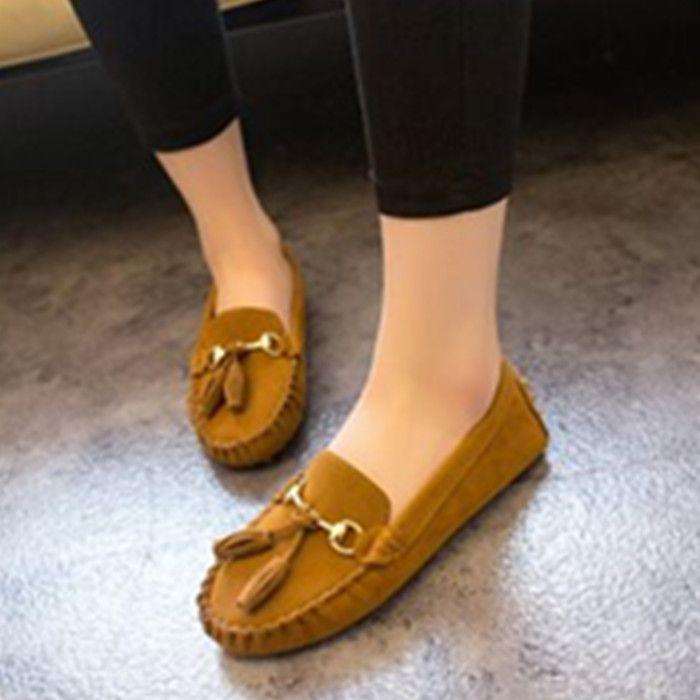 2015 primavera e no verão da moda borla de borla sola macia plana único sapatos flats dedo do pé redondo mocassins sapatos femininos